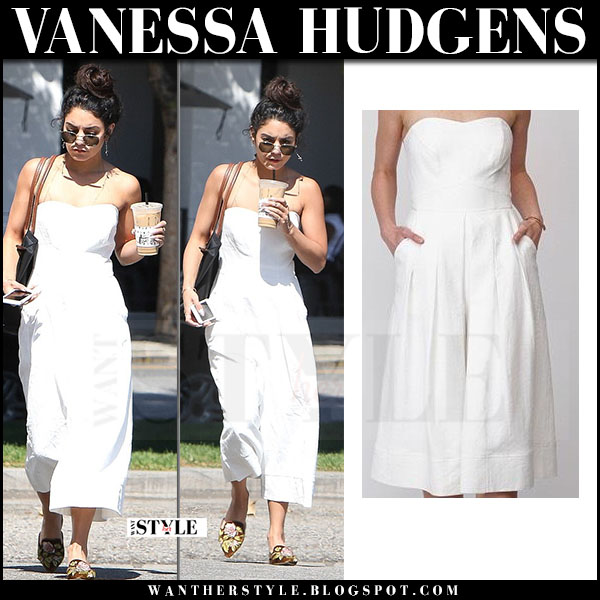 Vanessa Hudgens in white strapless jumpsuit greylin what she wore may 4 2017
