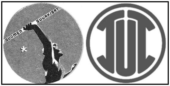 SVUL:n Suurkisojen tarra (v, 1947) rintarinnanja sulassa sovussa TUL:n Liittojuhlatarran (v. 1954) kanssa.