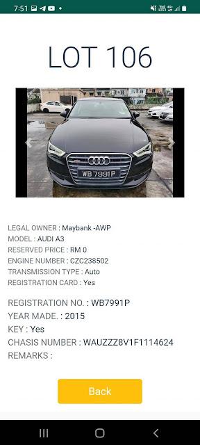 Audi A3 (2015) di lelong bermula pada harga Rezab RM0