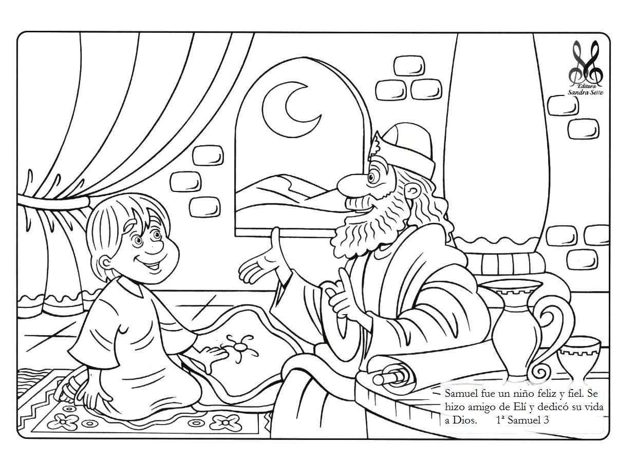 god speaks to samuel coloring page - me aburre la religi n samuel dibujos para colorear