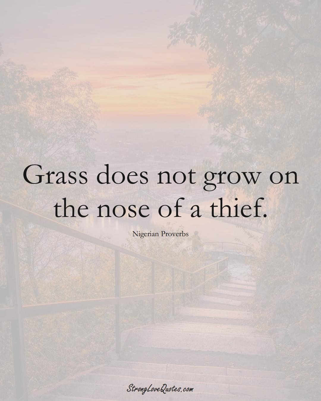 Grass does not grow on the nose of a thief. (Nigerian Sayings);  #AfricanSayings