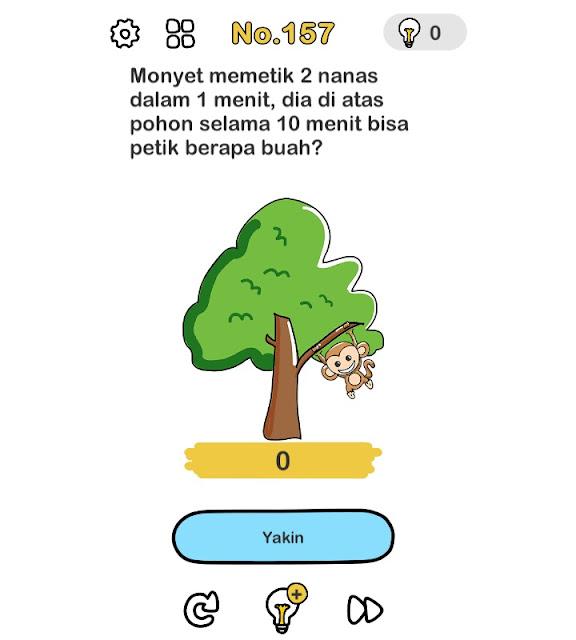 Monyet memetik 2 nanas dalam 1 menit, dia di atas pohon selama 10 menit bisa petik berapa buah?