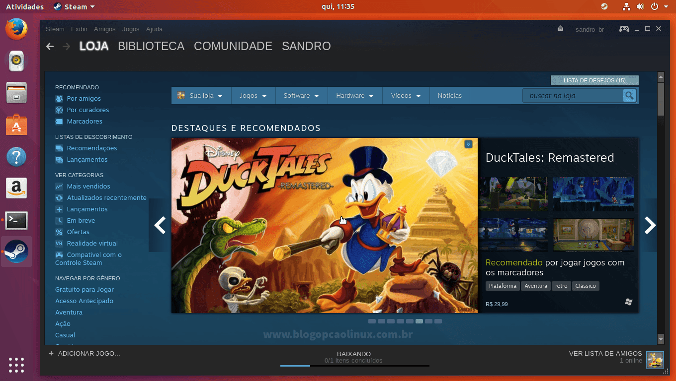 Steam executando no Ubuntu 17.10