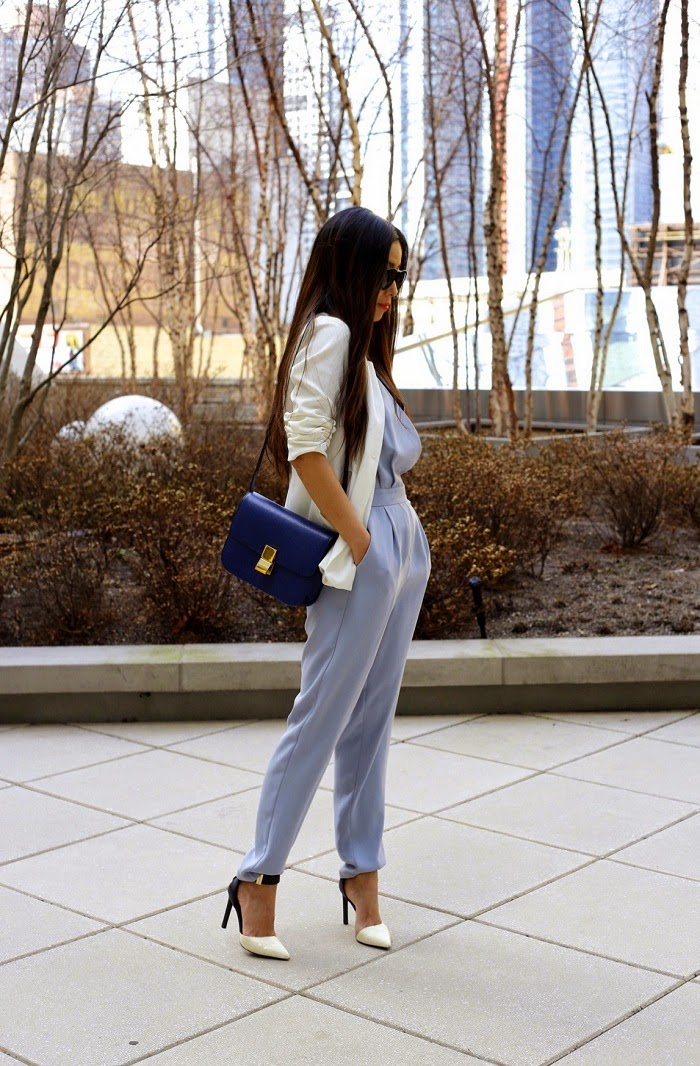 Topshop jumpsuit, chanel necklace, white blazer, karen walker harvest sunglasses, dolce vita shoes, celine classic box bag, Daniel wellington watches, fashion blog, work attire, new york city