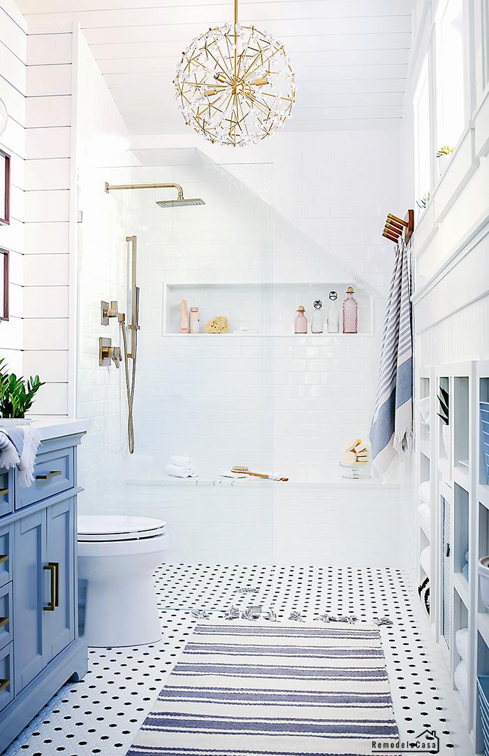 Vintage - modern bathroom makeover with walk in shower