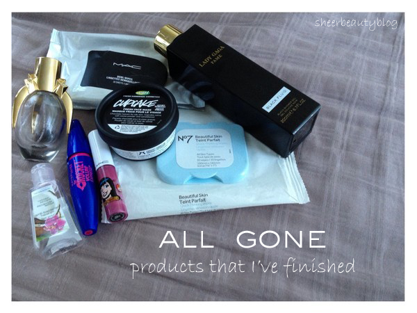 picture of lady gaga fame, lush cupcake fresh face mask, mac makeup remover wipes and maybelline rocket volum' mascara