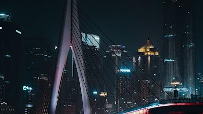 Wallpaper city, bridge, buildings, night, lights