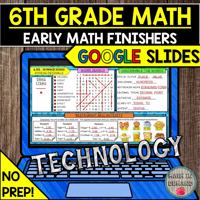 6th Grade Math Early Finishers in Google Slides Distance Learning