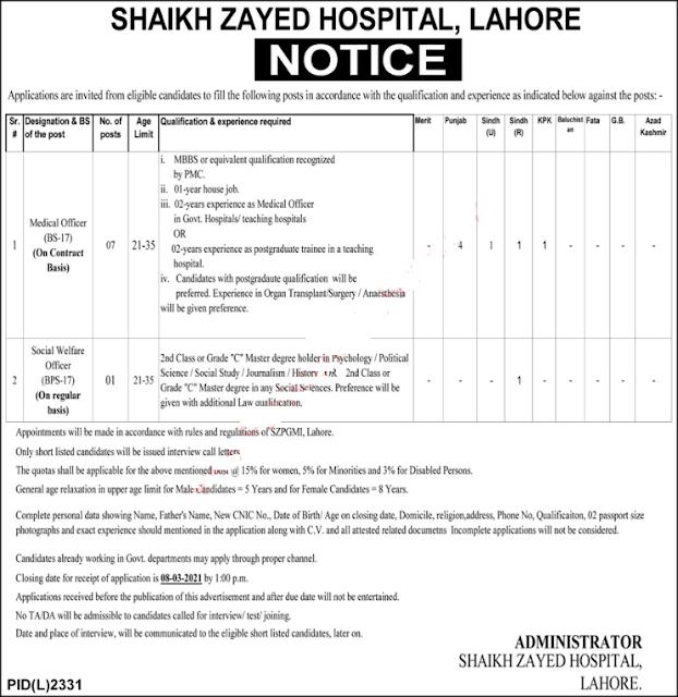 Shaikh Zayed Hospital Lahore Jobs 2021 Medical Officers & Social Welfare Officer Latest