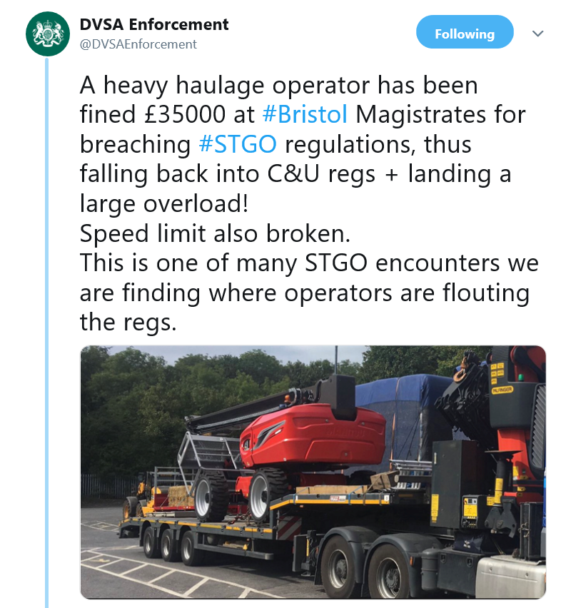 Heavy haulage operator fined a whopping £35000 for breaching