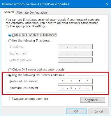 Gunakan Server DNS Cloudflare