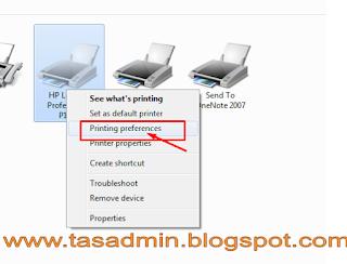 Klik Kanan Printing Preferences