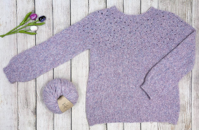 Handknitted purple sweater with DROPS Air and wooden tulips