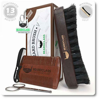 26 Beardclass Curved Boar Beard Brush and Dual Sided Comb Kit Set by Beardclass