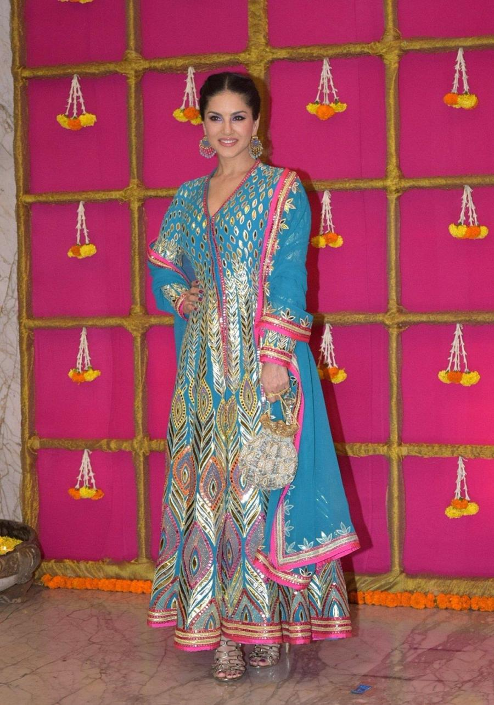 Indian Actress Sunny Leone at Krishan Kumar's Diwali Party In Mumbai