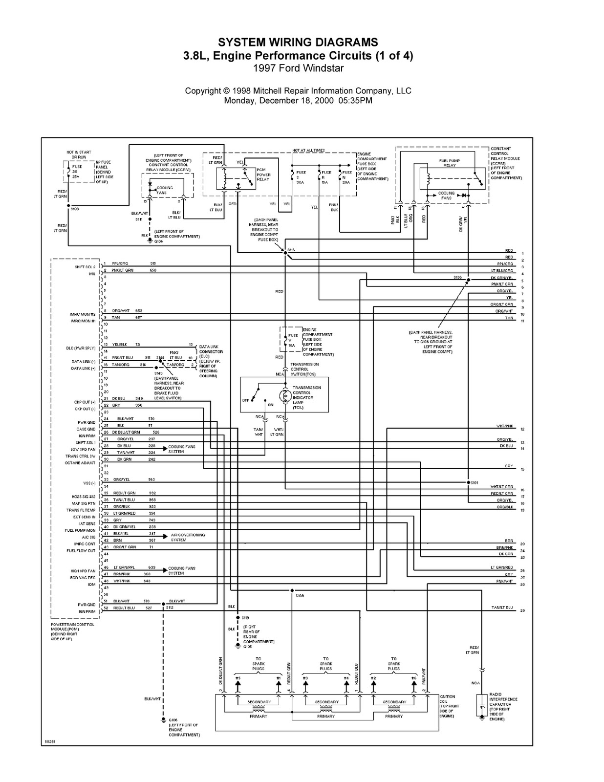 2000 Ford Windstar Ignition Wire Diagram, 2000, Free