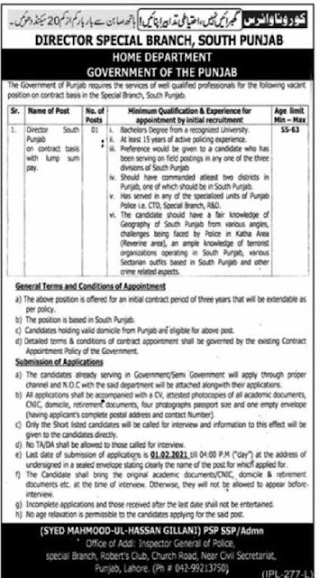 punjab-police-home-department-jobs-2021-director-special-branch-Application-form