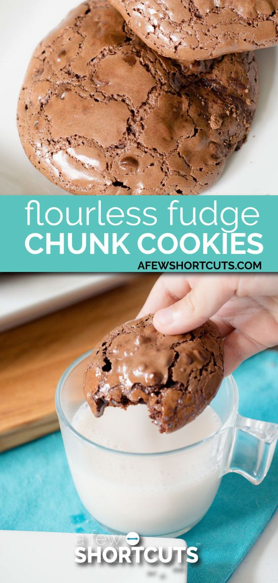FLOURLESS FUDGE CHUNK COOKIES #flourless #fudge #chunk #cookies #cookierecipes #easycookierecipes