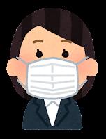 マスクを付けた人のイラスト(女性会社員)