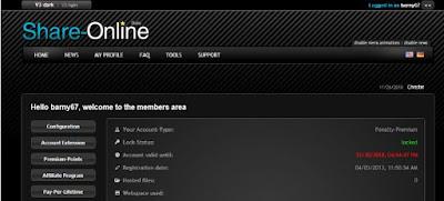 share online account password