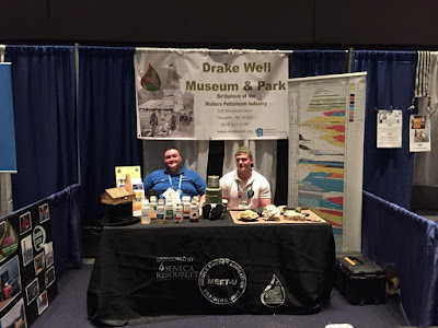 Two Drake Well Museum staffers host display at the Intel International Science and Engineering Fair