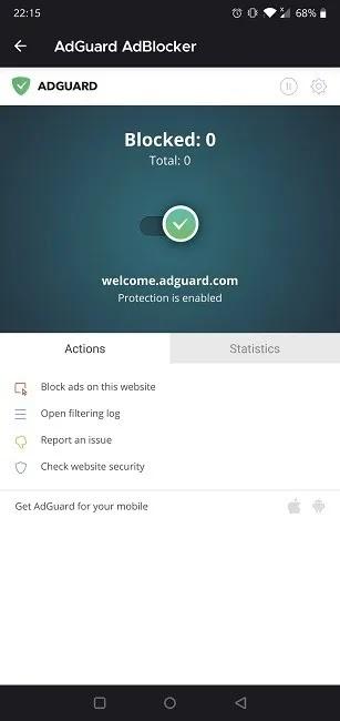 أفضل إضافات Firefox لنظام Android Adguard Adblocker