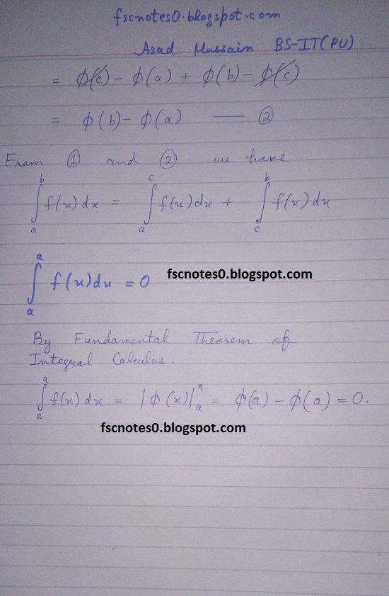 FSc ICS Notes Math Part 2 Chapter 3 Integration Formula Definite Integral by Asad Hussain 2