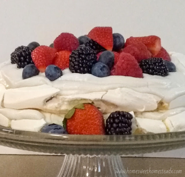 Home Sweet Homestead: Summer Berries Pavlova Cake #SummerDessertWeek Crispy on the outside, marshmallow-y soft on the inside meringue, coconut whipped cream, and fresh summer berries come together to make a deliciously beautiful dessert, that couldn't be easier to make!