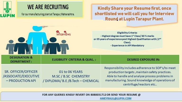 LUPIN LIMITED - Urgent Openings for Production - M.Sc / B.Sc / Diploma / B.E / B.Tech - Chemical Candidates
