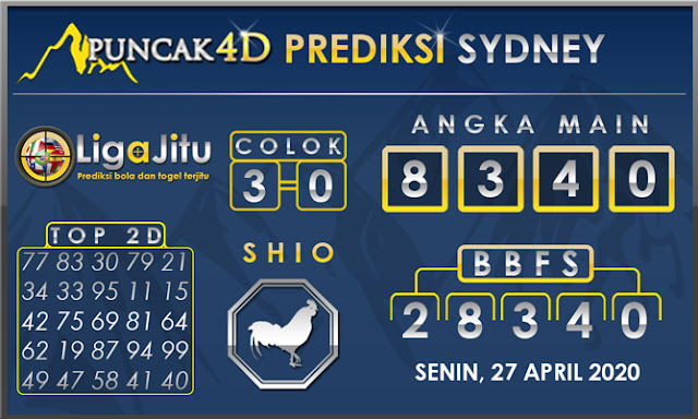 PREDIKSI TOGEL SYDNEY PUNCAK4D 27 APRIL 2020