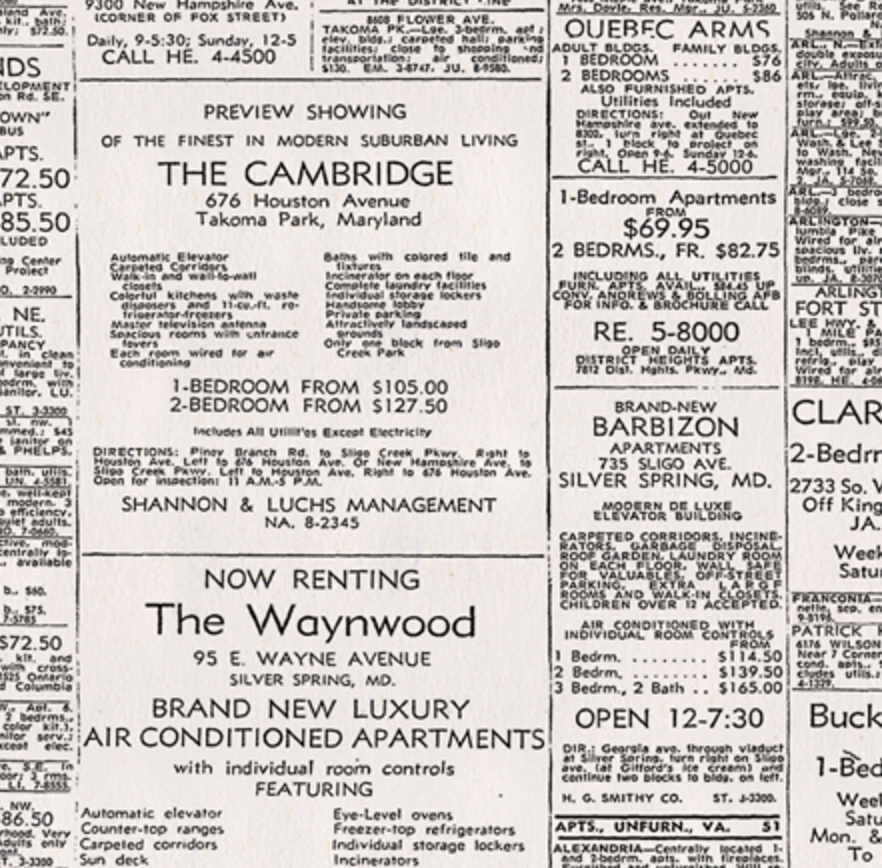 Part Of The Rental Ads In The November 18, 1958 Edition Of The Washington  Post. Image From Richard Friend.