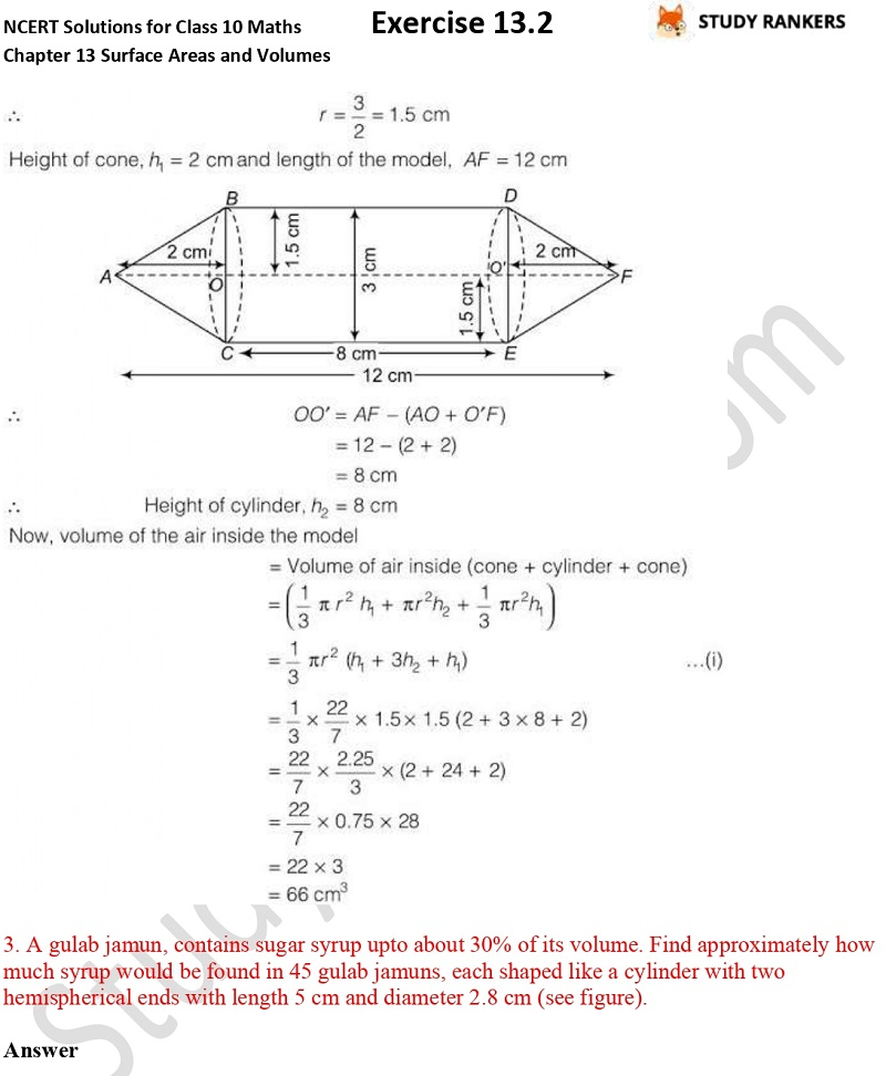 NCERT Solutions for Class 10 Maths Chapter 13 Surface Areas and Volumes Exercise 13.2 Part 2
