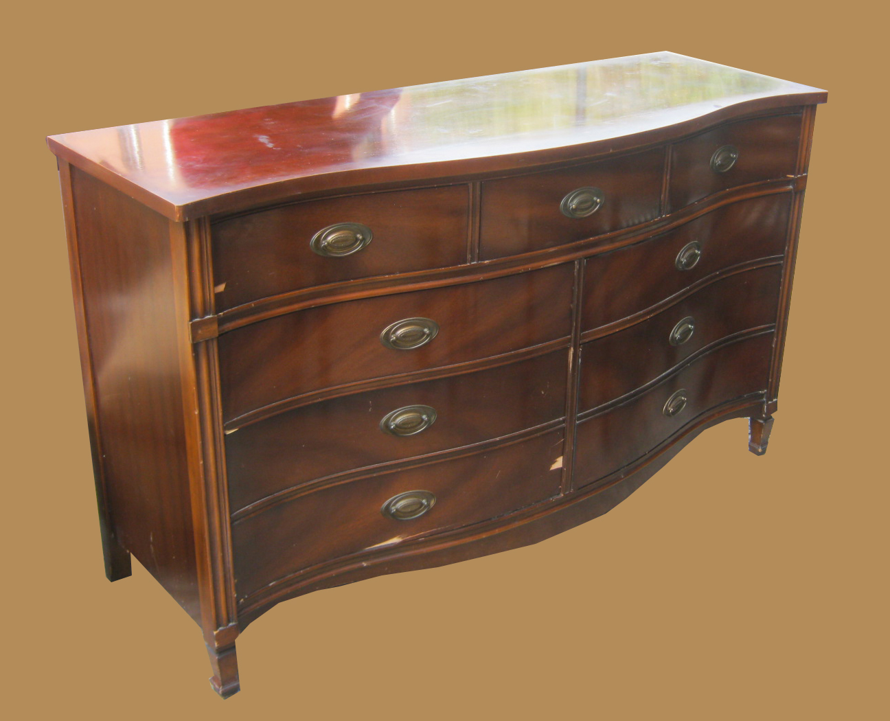 Mahogany Duncan Phyfe Bow Front Dresser Sold