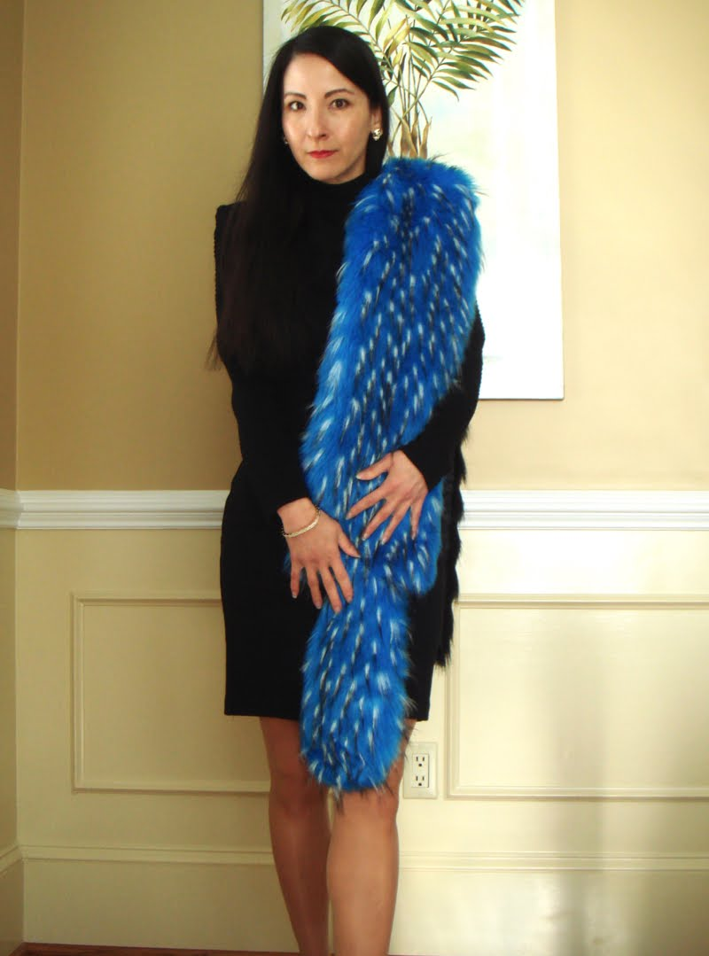 Formal Outfit with Blue Fur Stole - crunching towards you.