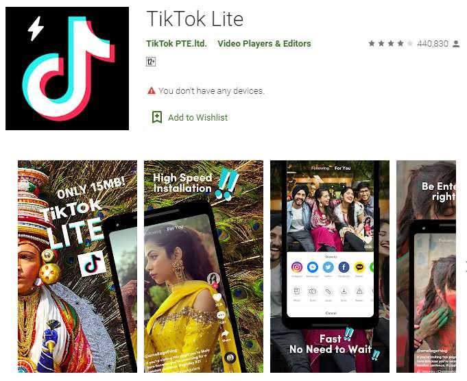 Aplikasi TikTok Lite versi India (play.google.com)