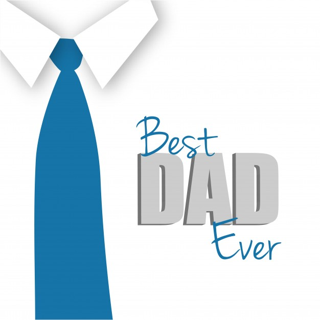 Father's day card with blue tie Free Vector