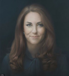 Portrait of Kate Middleton by Paul Emsley; detailed description can be found in caption.