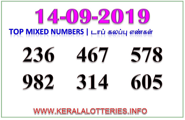 Kerala Lottery Guessing Results Best Mixed Numbers on 14.9.2019