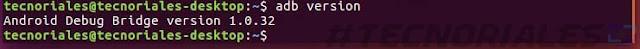 version de adb instalada en terminal de ubuntu