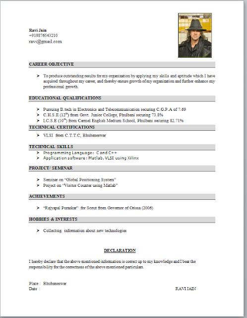 Standard Format Of Resume For Engineering – Student Resume Format Download