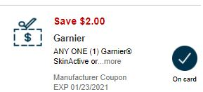 2.00/1 Garnier Skinactive Product CVS APP ONLY MFR Coupon (go to CVS App)