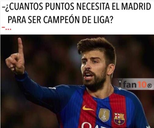 Pique sabe cuantos puntos faltan para que el Madrid sea Campeón