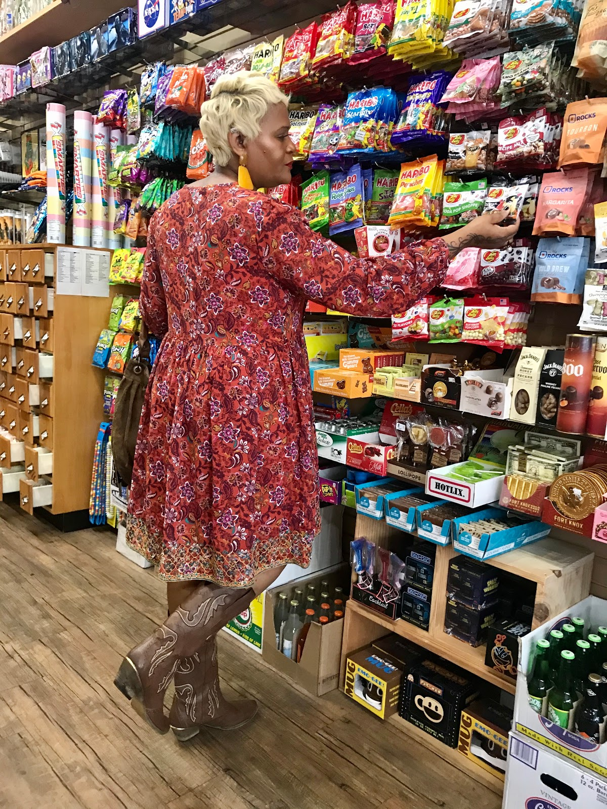 Judge My Style: Wearing cowgirl boots, boho dress and bohemian bag at candy store