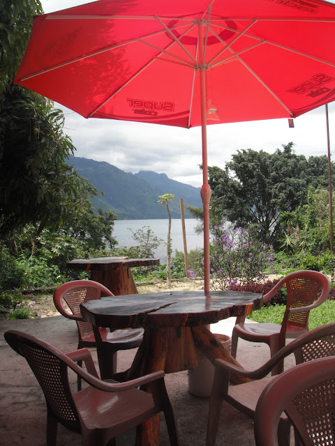Lake Atitlan view garden table restaurant