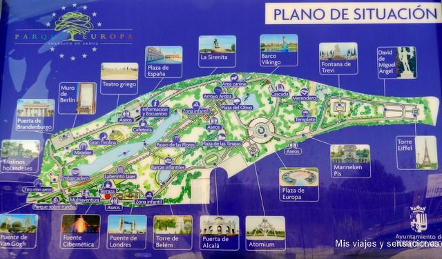 Plano del parque, Parque Europa, Torrejón de Ardoz (Madrid)