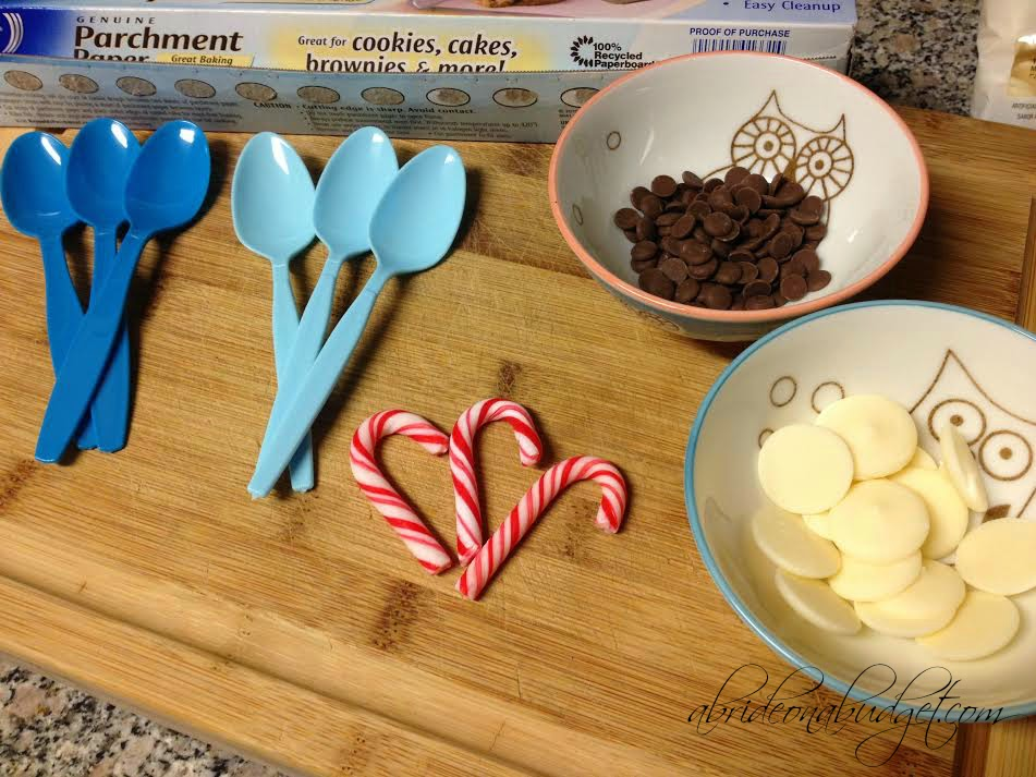 Hot Chocolate Spoons Favor Idea. These are perfect for a winter wedding, a blue wedding, a birthday party, or just something to make on a snowy Saturday when the kids are outside playing. Get the full tutorial on www.abrideonabudget.com.