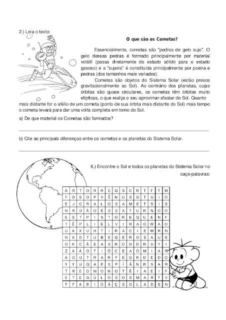 AVALIAÇÃO DE CIÊNCIAS SISTEMA SOLAR
