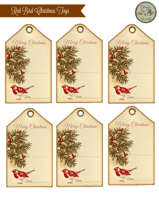 Red Bird Gift Tags