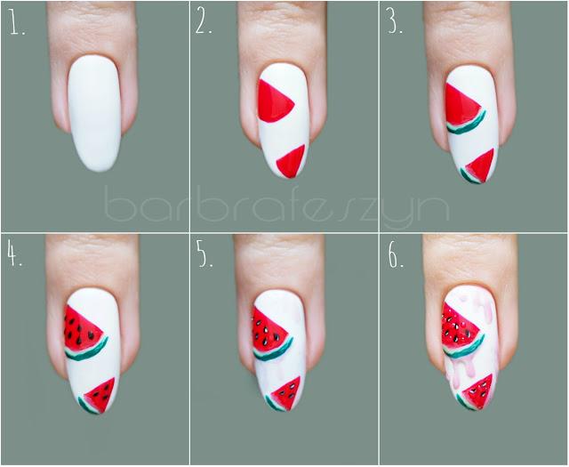 paznokcie w arbuzy tutorial