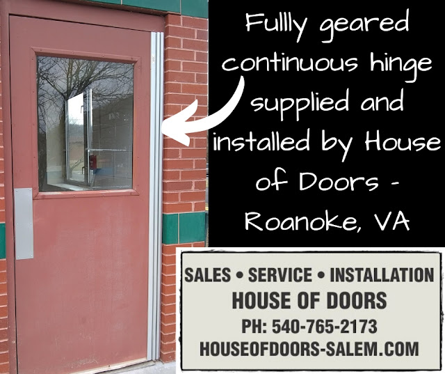Fullly geared continuous hinge supplied and installed by House of Doors - Roanoke, VA
